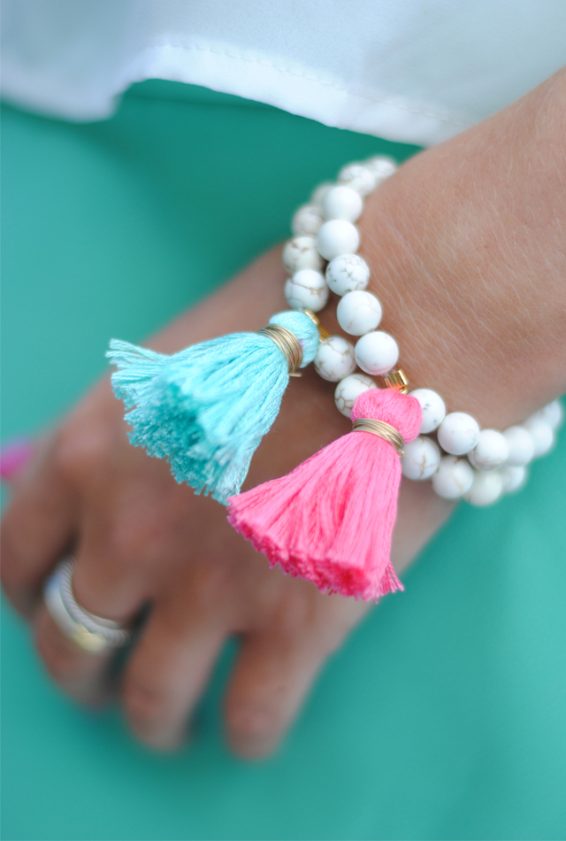 Tassel bracelet DIY… these are cheap and easy to make on your own!