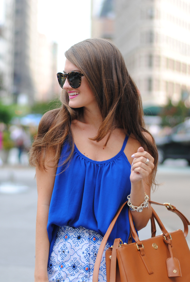 40c25aefe9f similar royal blue tank    Nordstrom embellished shorts    Tory Burch  Robinson double zip tote