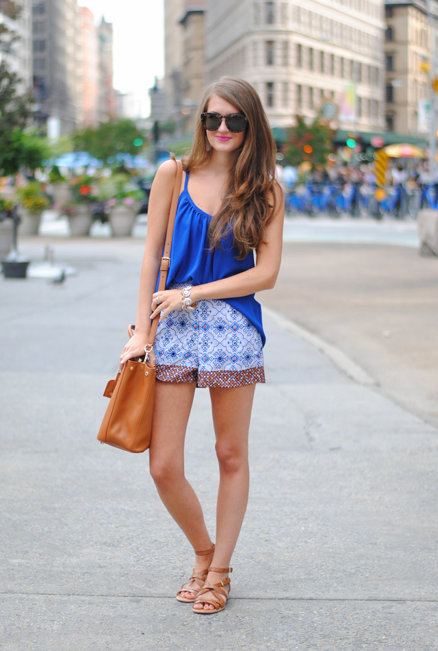 395942cee98 Summer in the City · similar royal blue tank    Nordstrom embellished shorts     Tory Burch Robinson double zip tote