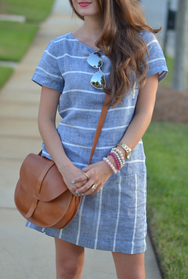 Chambray dress + leather bag