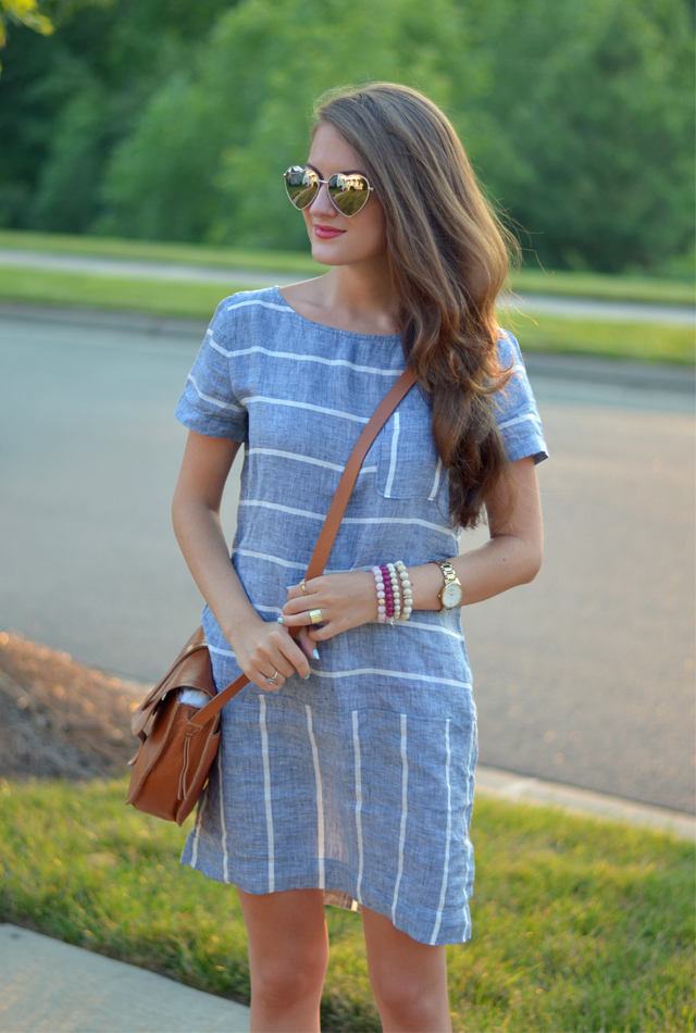 Perfect striped chambray dress for summer