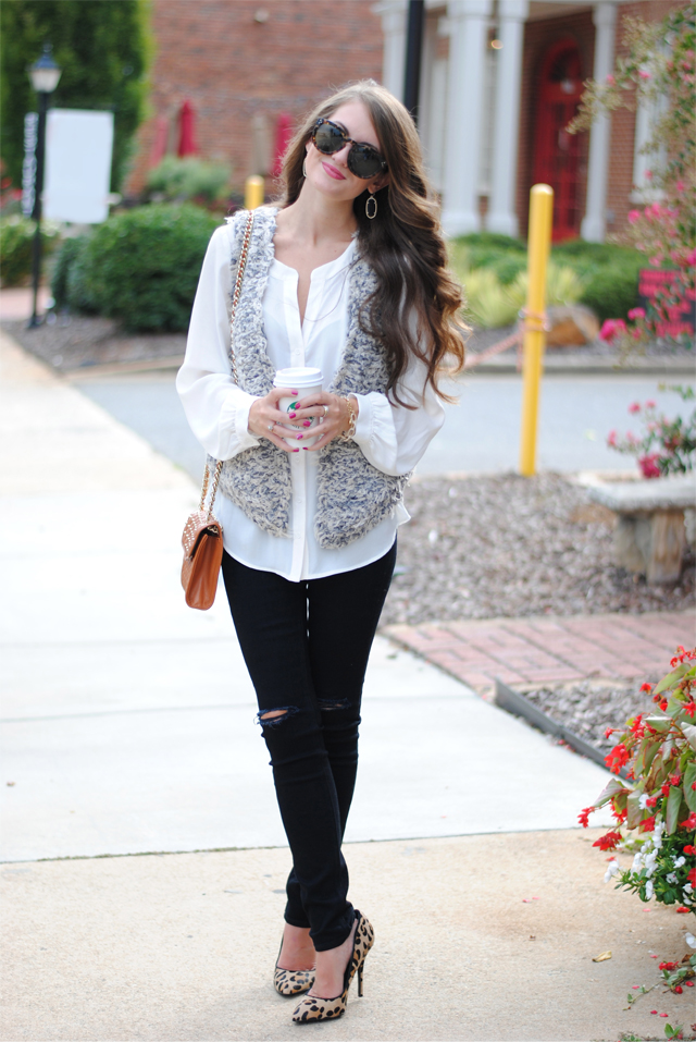 Fall look with distressed black denim