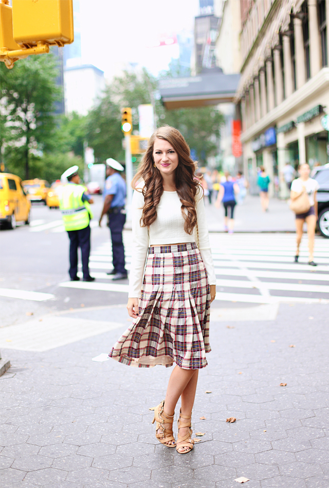 aa196682c cropped sweater (wearing medium) // plaid midi skirt (wearing small) //  Sole Society sandals (true to size)