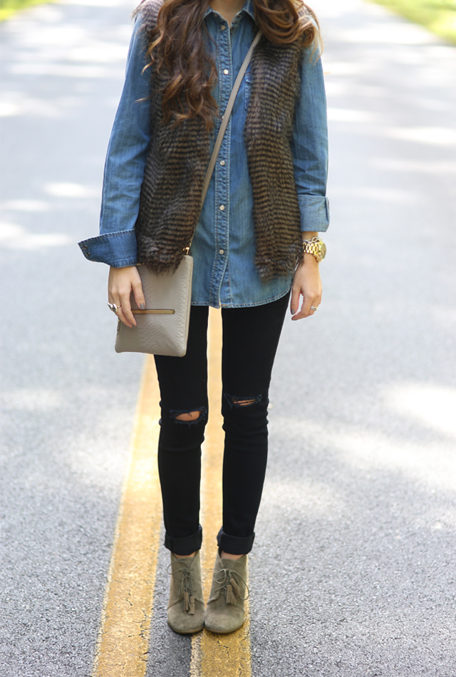 Fur vest outfit idea for the fall