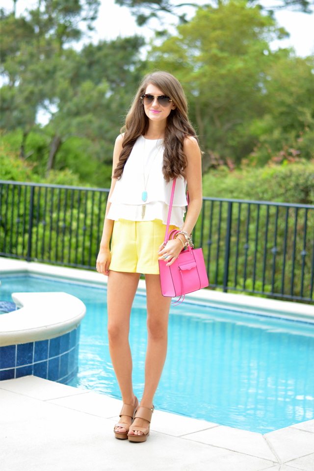 white, yellow and a pop of pink