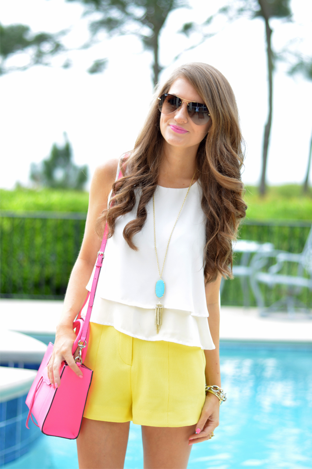 cute summer look with high-waisted shorts