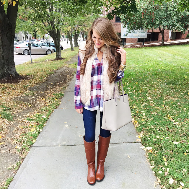 Pair a sweater vest with plaid top