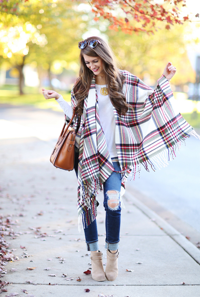 Plaid poncho for fall
