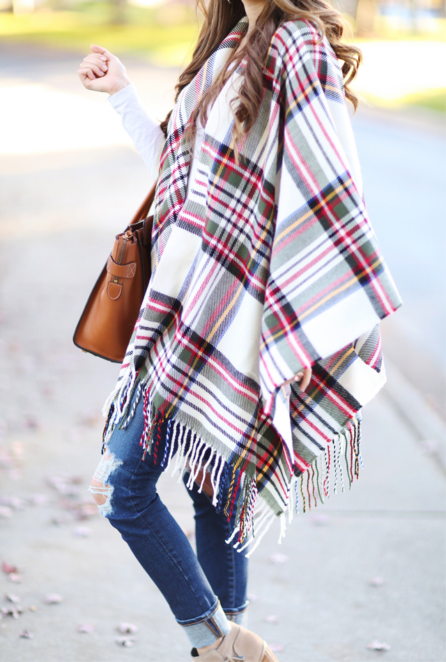 Love this plaid poncho