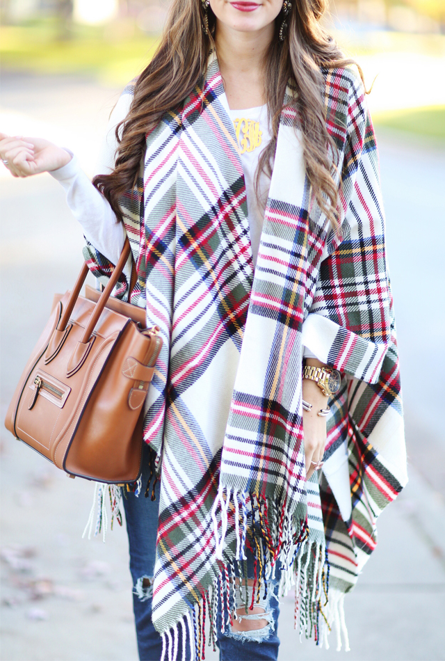 Plaid poncho for less than $40