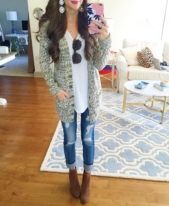 d389d39fb4b marled cardigan (40% off!!)    white long sleeve tee (my favorite   only   18!) 7 for all Mankind distressed jeans    Michael Kors wedge booties (on  sale!!)