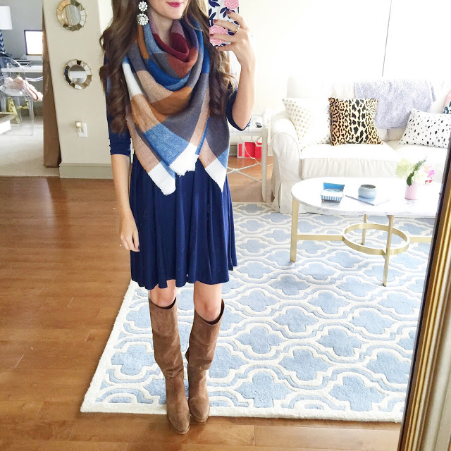 swing dress paired with a scarf