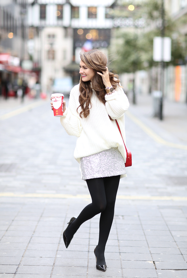 Sequin skirt holiday outfit