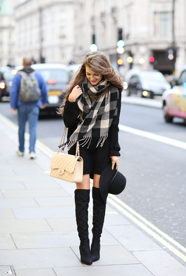 sweater dress and boots outfit