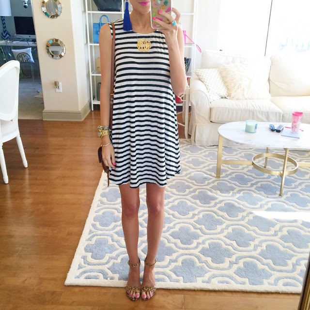 striped dress with leopard heels