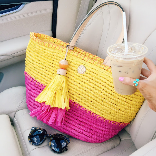 Cute Tory Burch straw tassel bag