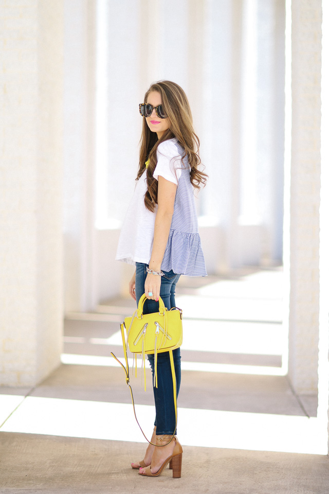 Bue and yellow spring outfit