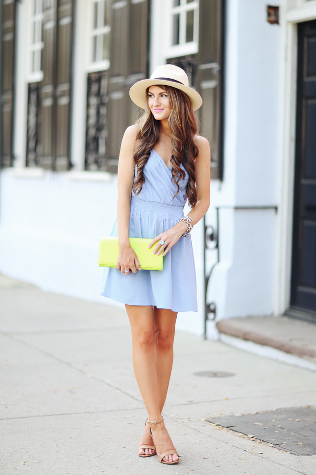 LOVE this chambray dress with neon clutch