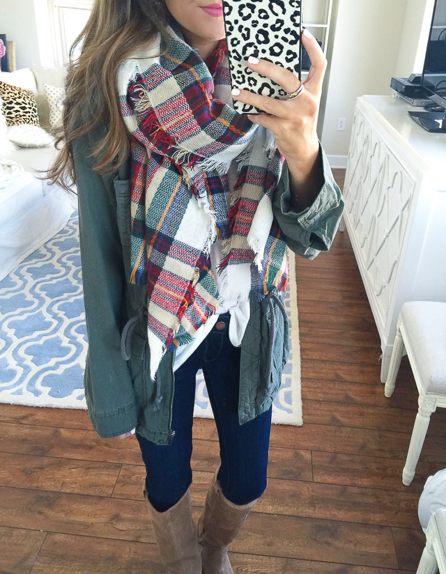 Nordstrom Anniversary Sale plaid blanket scarf and cargo jacket