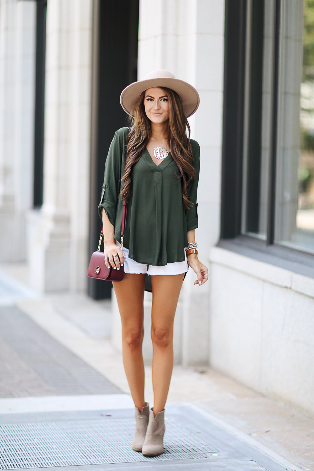 ead1dedd1a4 cute summer outfit with booties · Lush V-neck crepe blouse · Vince Camuto  Feina booties
