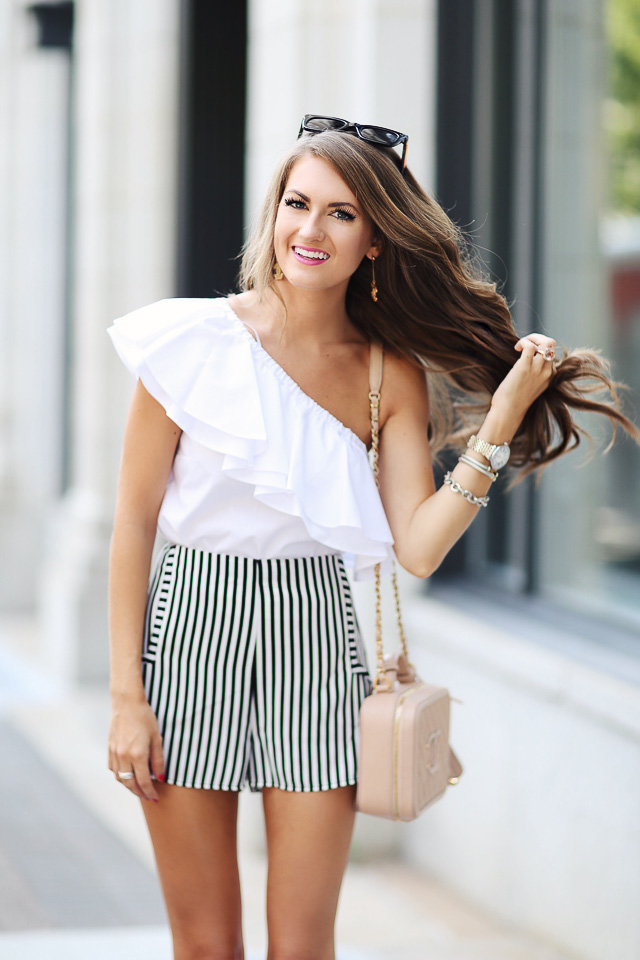 one shoulder top, striped shorts