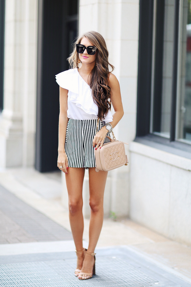 Summer outfit - striped shorts, one shoulder top