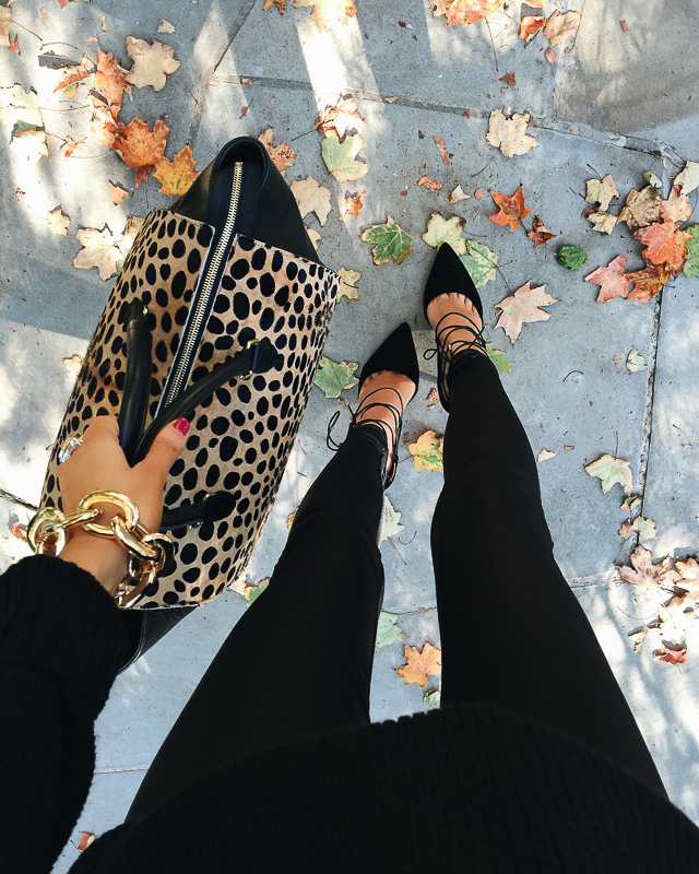 All black outfit + leopard