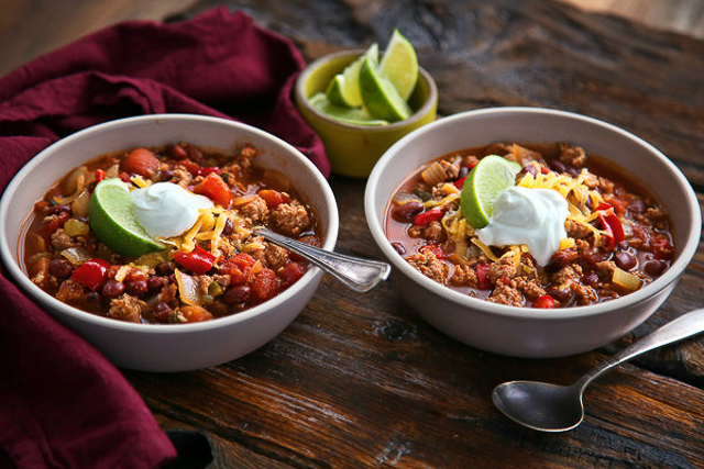 Slow Cooker Turkey Chili - perfect for a winter night and makes lots of leftovers!