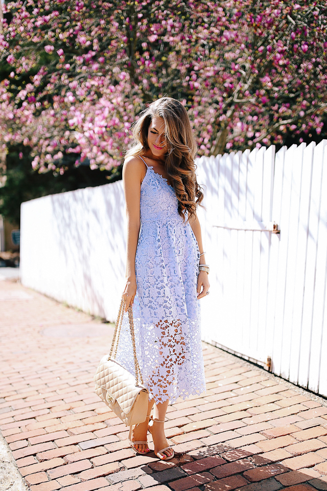 What to Wear to a Spring Wedding · lace midi dress (less than  100 d3273f450