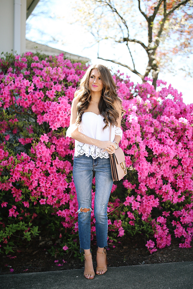 spring outfit - eyelet off the shoulder top and ripped jeans