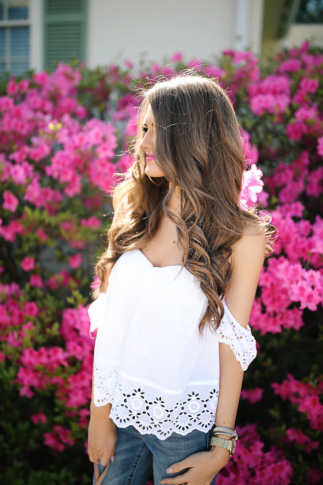 Eyelet off the shoulder top for spring