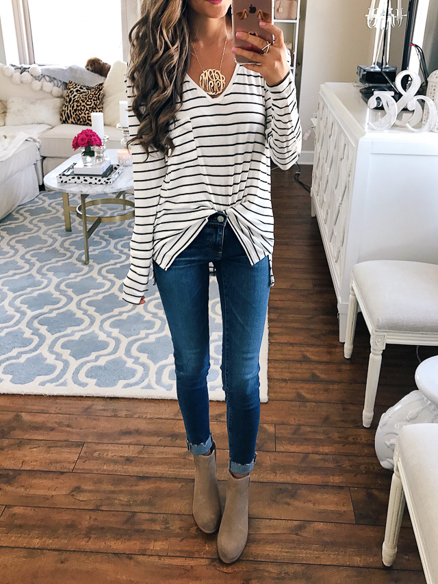 24e0d086f192 BP pocket tee    AG The Legging raw hem ankle skinny jeans    Hinge Barris block  heel booties. Nadri crossover ring    monogram necklace