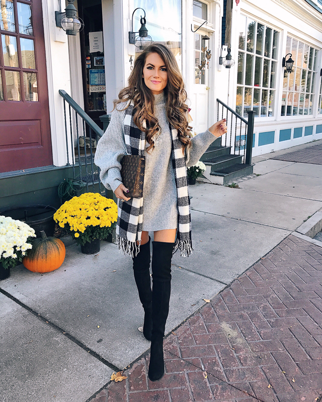 9360f171dcc h m turtleneck sweater (wearing as a dress)    buffalo check scarf. over -the-knee boots ...