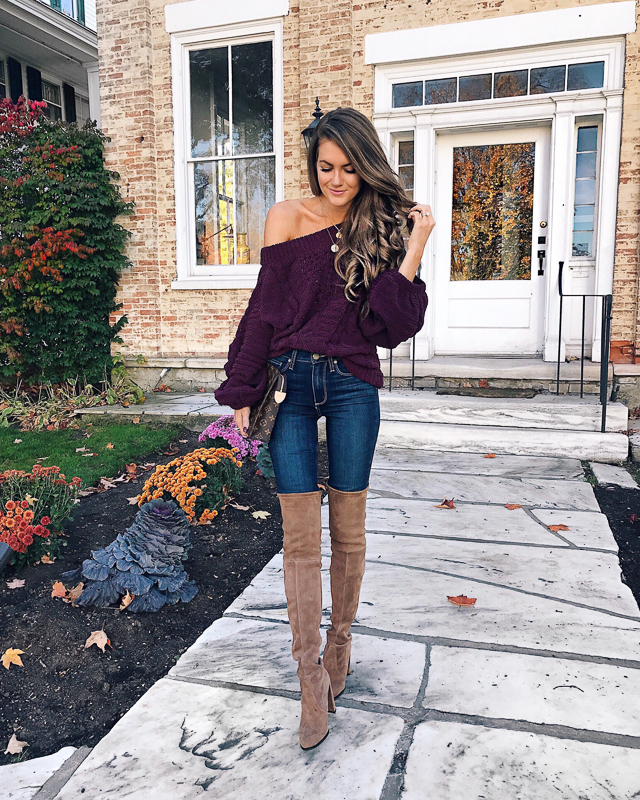 4271028a Express off-shoulder top (40% OFF) // Paige jeans (46% OFF) over-the-knee  boots, similar but less expensive HERE // Styled Collection coin necklaces