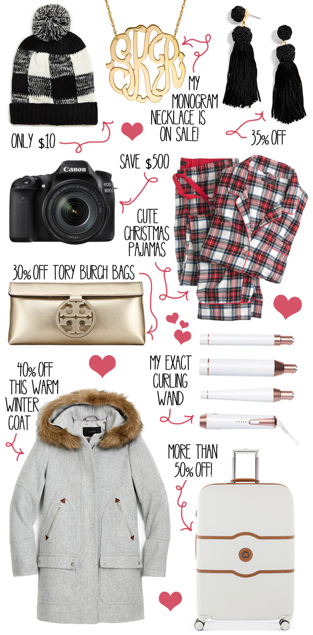 8d8e6fafb5adc from top to bottom: buffalo check beanie // monogram necklace // tassel  earrings · Canon 80D camera // flannel pajamas // Tory Burch clutch // T3  curling ...