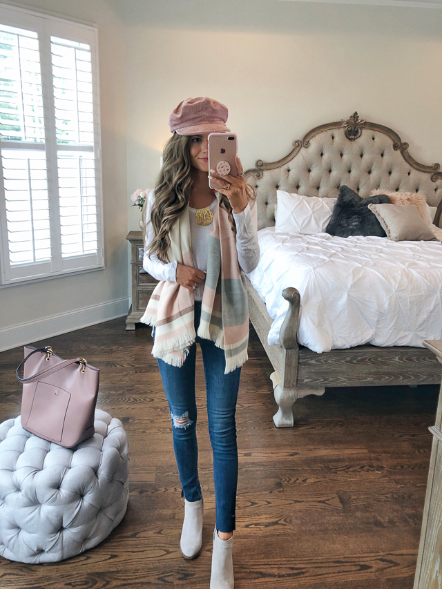 "71065c64f B.P. Raw Edge Scoop Neck Tee // Madewell Colorblock Blanket Scarf · A.G.  The Legging Ripped Jeans // Lucky Brand Yabba Wedge in ""grey suede"""