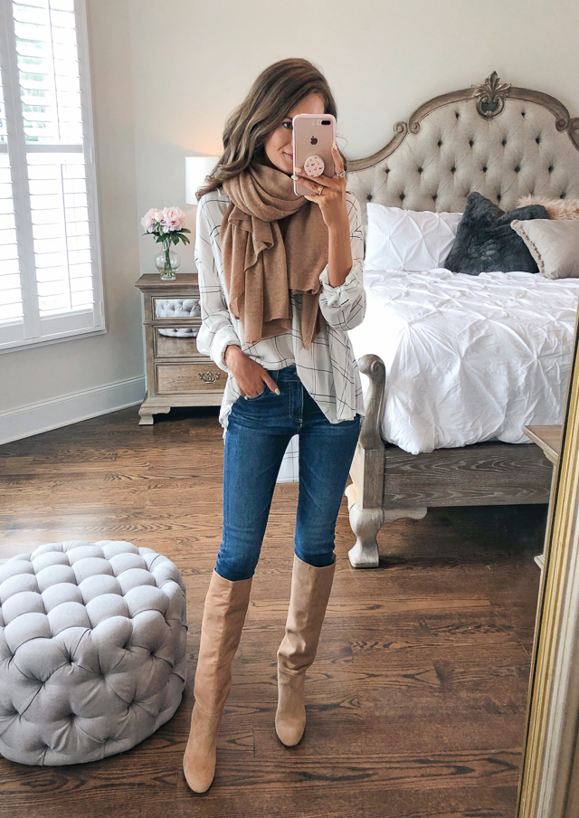 "4aa157e72 Leith Henley Woven Shirt // Halogen Cashmere Scarf in ""Tan Indochine  Heather"" AG The Farrah Ankle Skinny Jeans // Sam Edelman Caprice High Knee  Boot"