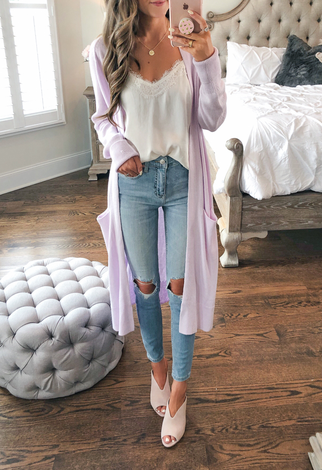 9527fa7020e3 B.P. Lace Trim Satin Camisole    medallion necklace    Leith Side Split  Midi Cardigan Free People High Waist Ankle Skinny Jeans    B.P. Tonya Open  Toe Mule
