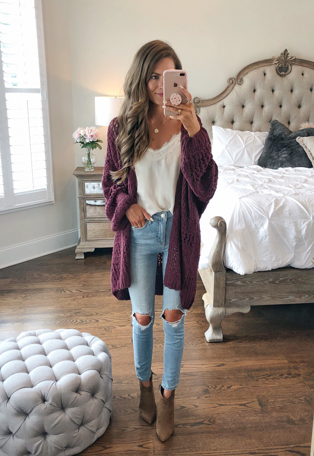 5ac122b47 B.P. Lace Trim Satin Camisole // Free People cardigan // medallion necklace  // Free People High Waist Ankle Skinny Jeans // Vince Camuto Movinta Bootie