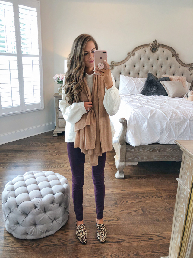 """6fae3a1515e B.P. Balloon Sleeve Sweater    Articles of Society Sarah Skinny Jeans  Halogen Cashmere Scarf in """"Tan Indochine Heather""""    Halogen Violet Calf  Hair Mule"""