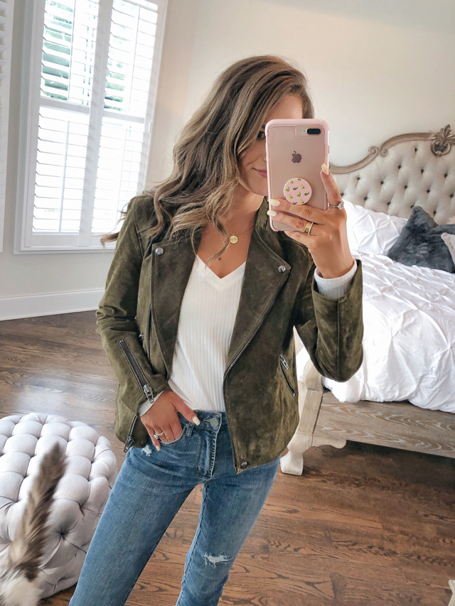 "9d1698f8005 B.P. Ribbed V-Neck Tee    BlankNYC No Limit Suede Jacket in the color ""bank  roll"" Articles of Society Heather Jeans    Vince Camuto Movinta Bootie ..."