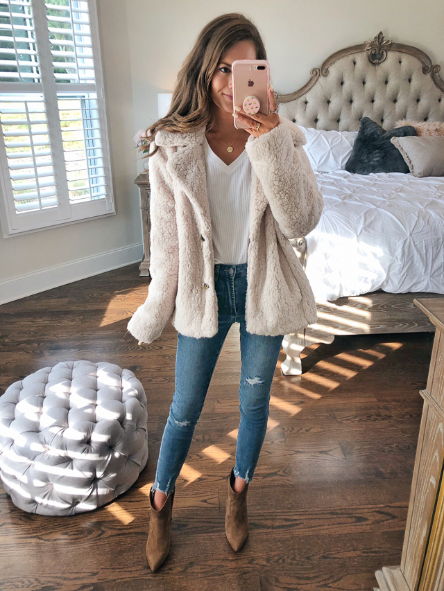 fbb30ba1ca1 Caslon Faux Shearling Jacket    Articles of Society Heather Jeans · Vince  Camuto Movinta Bootie    medallion necklace