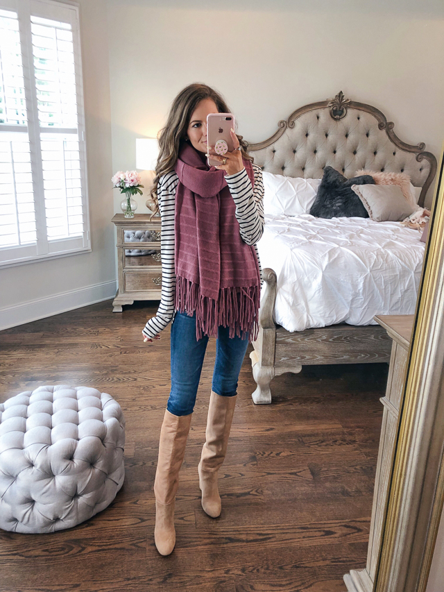 56885a338 B.P. Raw Edge Scoop Neck Tee // Halogen Cashmere Wrap // AG The Farrah  Ankle Skinny Jeans // Sam Edelman Caprice High Knee Boot