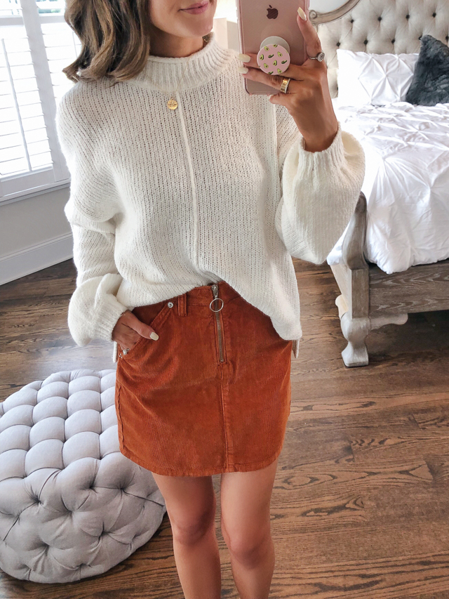 b9ebef067a83 B.P. Balloon Sleeve Sweater // Topshop Cord Miniskirt // medallion necklace