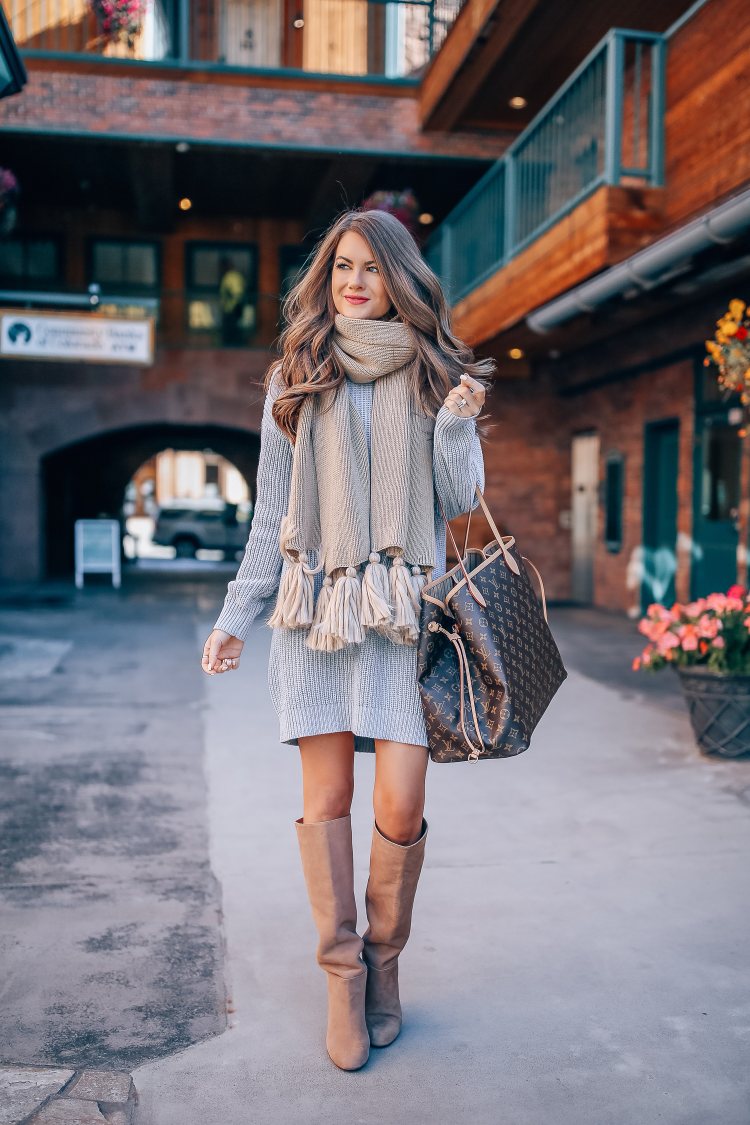 e6232a75d How cozy is this look?! I love a good sweater dress, and this one is  extraordinarily cozy (especially with a scarf and boots added in the mix!)