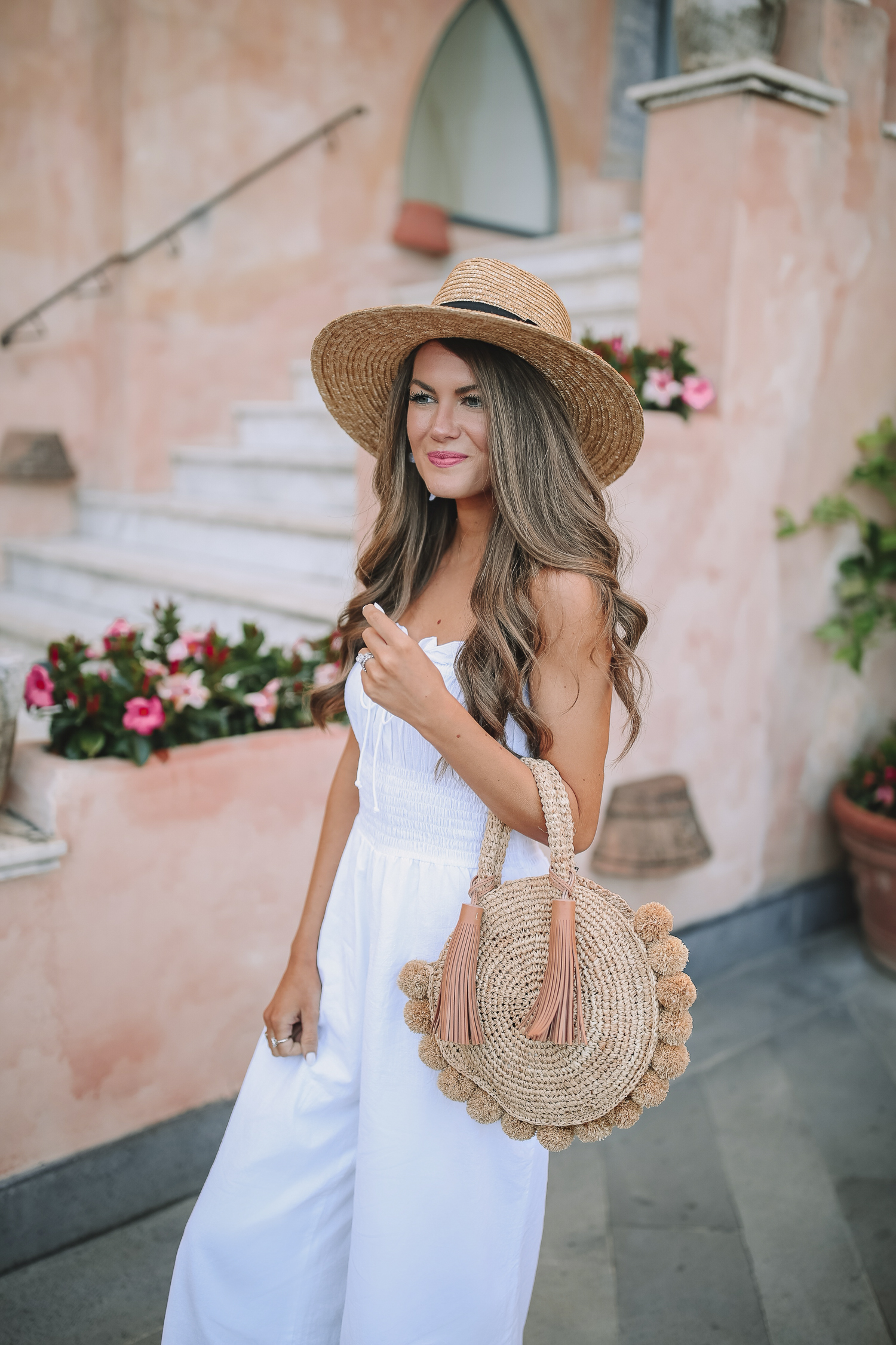 White Jumpsuit In Ravello Southern Curls Amp Pearls