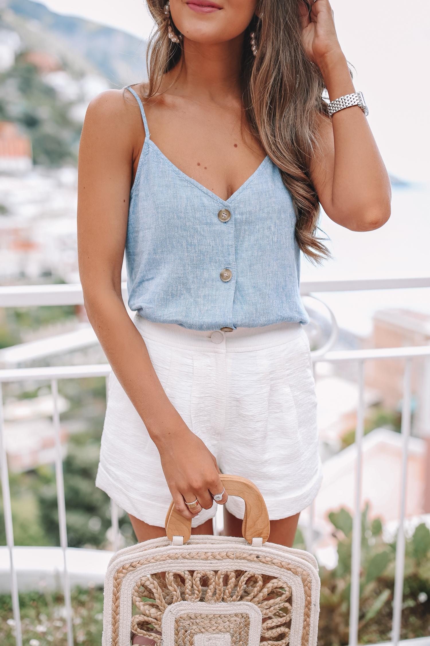 5d9860676 BP linen-blend camisole, also love the white version // similar white  shorts here and here // Shiraleah woven top handle clutch // similar pearl  earrings ...