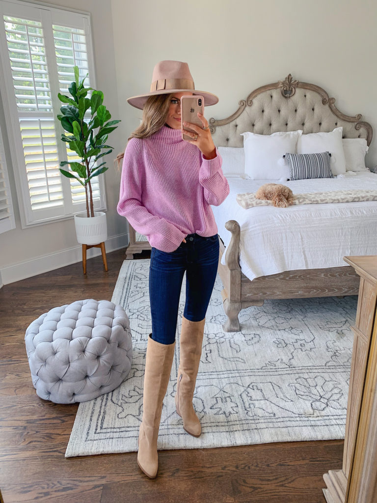 """Nordstrom Anniversary Sale Leith Transfer Stitch Turtleneck Sweater in """"Pink Bouquet Heather"""""""