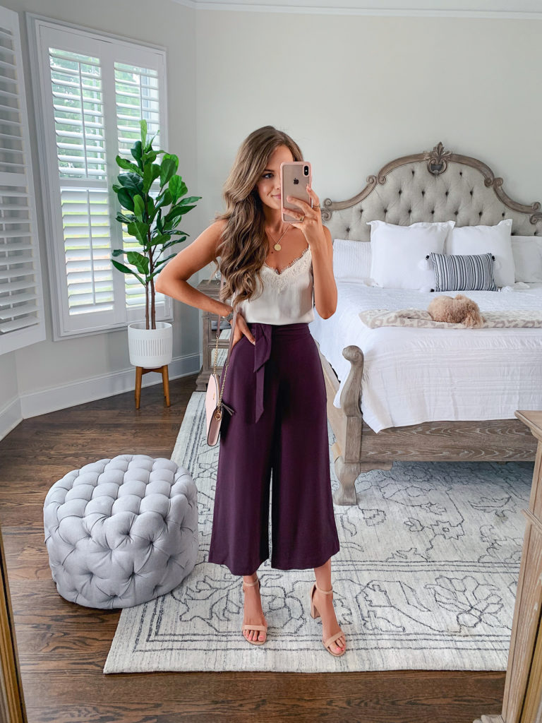 Nordstrom Anniversary Sale B.P. Lace Trim Satin Camisole Top and Leith Tie Front High Rise Wide Leg Crop Pants